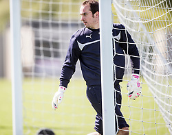Falkirk's keeper Jamie MacDonald. Falkirk FC training at Swansea's training pitches, before next weeks Cup Final.