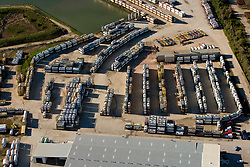 Aerial view of containers in a storage lot at the Port of Houston