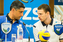 Andrea Giani, coach and Alen Pajenk during press conference of Slovenian Volleyball Federation before FIVB Volleyball World League tournament in Ljubljana, on May 5, 2016 in Hotel Spik, Gozd Martuljek, Slovenia. Photo by Vid Ponikvar / Sportida