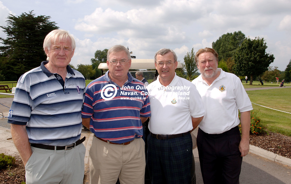 18-08-06. Ronnie Drew - Royal Tara Charity Golf Classic 2006.<br /> L to R: Brendan Crawford, Leo Finley, Paddy Ryan and Leslie Ellis.<br /> Photo: John Quirke / www.quirke.ie<br /> ©John Quirke Photography, Unit 17, Blackcastle Shopping Cte.<br /> Navan. Co. Meath. 046-9079044 / 087-2579454.