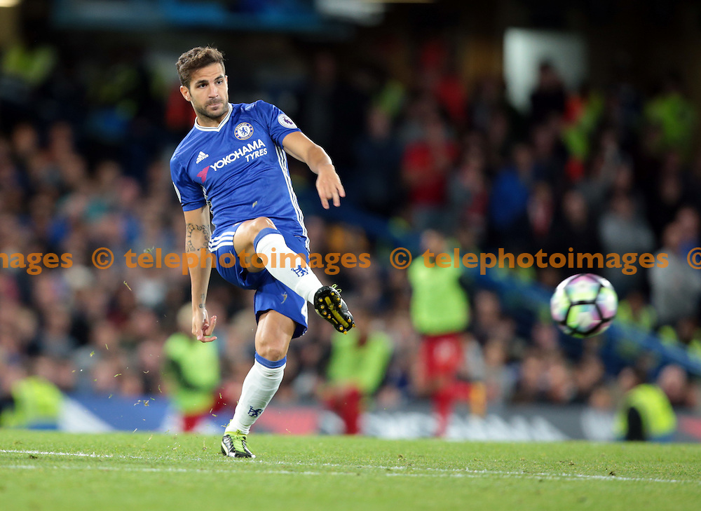 Chelsea's Cesc Fabregas in action during todays match  <br /> during the Premier League match between Chelsea and Liverpool at Stamford Bridge in London. September 16, 2016.<br /> James Galvin / Telephoto Images<br /> +44 7967 642437