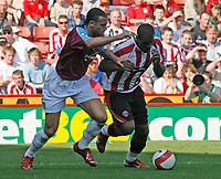 Photo: Paul Greenwood.<br />Sheffield United v West Ham United. The Barclays Premiership. 14/04/2007.<br />West Ham's Anton Ferdinand, (L) and Christian Nade