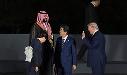 Wife of Shinzo Abe ,Crown Prince Mohammed bin Salman (Saudi Arabia), Japan's Prime Minister Shinzo Abe and US President Donald Trump during family photo session on the first day of the G20 summit in Osaka, Japan on June 28, 2019. Photo by Jacques Witt/Pool/ABACAPRESS.COM