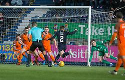 Falkirk's Lewis Kidd scoring their sixth goal. Falkirk 6 v 1 Dundee United, Scottish Championship game played 6/1/2018 played at The Falkirk Stadium.