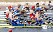 Olympic Games,  Athens, GREECE <br /> [Rowing-Sun Finals day]  Lake Schinias.<br /> GBR M2X ,  left Matt Wells and Matt Langridge moves off the start on the opening day of the Olympic regatta. Photo  Peter Spurrier, email images@intersport-images.com [Mandatory Credit Peter Spurrier/ Intersport Images]