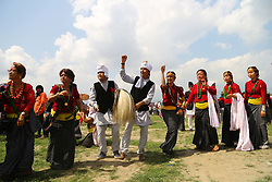 May 5, 2018 - Kathmandu, Nepal - People from Kirat community participate in the celebration of Ubhauli festival. Ubhauli festival is celebrated by Kirat of eastern Nepal marking the beginning of summer season and the migration of birds & animals towards hilly regions. (Credit Image: © Archana Shrestha/Pacific Press via ZUMA Wire)
