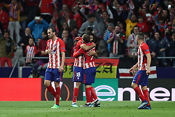 May 3, 2018 - Madrid, Spain - DIEGO COSTA of Atletico de Madrid celebrates with ANTOINE GRIEZMANN after scoring his side's opening goal during the UEFA Europa League, semi final, 2nd leg football match between Atletico de Madrid and Arsenal FC on May 3, 2018 at Metropolitano stadium in Madrid, Spain (Credit Image: © Manuel Blondeau via ZUMA Wire)