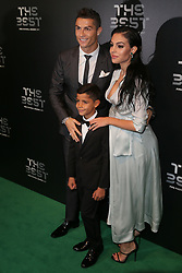 LONDON, Oct. 23, 2017  Cristiano Ronaldo arrives with his son Cristiano Ronaldo Jr. and girlfriend Georgina Rodriguez for the The Best FIFA Football Awards 2017 at the London Palladium, in London, Britain on Oct. 23, 2017. (Credit Image: © Tim Ireland/Xinhua via ZUMA Wire)