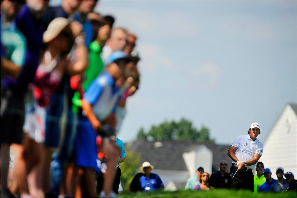 Phil Mickelson watches his tee shot on the sixth hole during the third round of The Barclays Championship held at Plainfield Country Club in Edison, New Jersey on August 29.