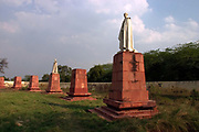 Statues of King George V and other Imperial notables and Viceroys at the Coronation Durbar site near Delhi, India. The statues were removed from New Delhi in the 1960's. The statue of George V originally stood under the canopy of India