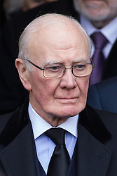© Licensed to London News Pictures . 16/01/2014 . Salford , UK . Sir Menzies Campbell , MP for North East Fife , after the service . The funeral of Labour MP Paul Goggins at Salford Cathedral today (Thursday 16th January 2014) . The MP for Wythenshawe and Sale East died aged 60 on 7th January 2014 after collapsing whilst out running on 30th December 2013 . Photo credit : Joel Goodman/LNP