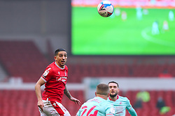 Tiago Silva of Nottingham Forest wins a header in front of the big screen - Mandatory by-line: Nick Browning/JMP - 29/11/2020 - FOOTBALL - The City Ground - Nottingham, England - Nottingham Forest v Swansea City - Sky Bet Championship