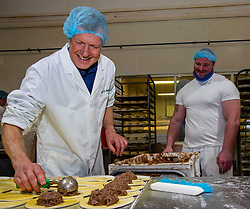 Pictured: Willie Rennie and Assistant Bakery Manager Mickey Wilson<br /><br />Scottish Liberal Democrat leader Willie Rennie was busy making pies and bridies today while discussing how voters stop a second independence referendum on a visit to Stuart Bakery. in  Methil<br /><br />Ger Harley | EEm 6 December 2019