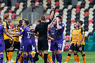 RED CARD TRANMERE Tranmere Rover's Paul Lewis (22) is shown a red card by referee Thomas Bramall during the EFL Sky Bet League 2 match between Newport County and Tranmere Rovers at Rodney Parade, Newport, Wales on 17 October 2020.