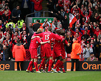 Photo: Andrew Unwin.<br />Liverpool v Everton. The Barclays Premiership. 25/03/2006.<br />Liverpool celebrate their first goal, reported to be an own goal by Phil Neville.