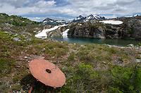 Rusting mining equipment, Yellow Aster Butte Basin, Mount Baker Wilderness, North Cascades Washington