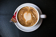 August 25, 2014 - A heart-shaped design enhances the look of a cup of latte at Cafe Keough Monday afternoon. The French-style cafe and bar is located at 12 S. Main St. (Yalonda M. James/The Commercial Appeal)