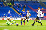 Cardiff City's Goalkeeper Alex Smithies (12) saves from Barnsley FC's  Mads Anderson (6) during the EFL Sky Bet Championship match between Cardiff City and Barnsley at the Cardiff City Stadium, Cardiff, Wales on 3 November 2020.