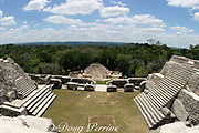 view of B complex temples from Caana or Sky Palace;<br /> grave of Mayan princess at lower center; Caracol, Mayan ruins in Cayo District, Belize, Central America, Caracol was one of the three largest and most important Mayan city states currently known