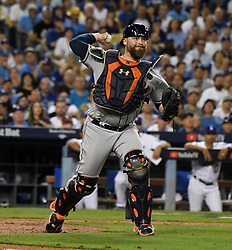 October 25, 2017 - Los Angeles, California, U.S. - Houston Astros catcher Brian McCann during game two of a World Series baseball game against the Los Angeles Dodgers at Dodger Stadium on Wednesday, Oct. 25, 2017 in Los Angeles. Houston Astros won 7-6 in 10 innings. (Photo by Keith Birmingham, Pasadena Star-News/SCNG) (Credit Image: © San Gabriel Valley Tribune via ZUMA Wire)