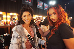 December 8, 2019, Atlanta, Georgia, USA: Rosemary Arauz, Miss Honduras 2019 gets makeup done by an OP Cosmetics artist backstage during The Miss Universe Competition telecast, held at Tyler Perry Studios. Contestants from around the globe have spent the last few weeks touring, filming, rehearsing and preparing to compete for the Miss Universe crown. (Credit Image: © Benjamin Askinas/Miss Universe Organization via ZUMA Wire)
