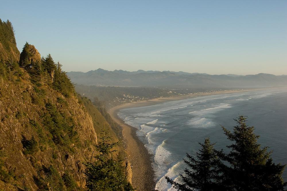 View of Manzanita from Neahkahnie lookout, highway 101, Neahkanie Mountain, Oregon Coast