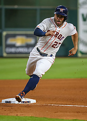 April 30, 2018 - Houston, TX, U.S. - HOUSTON, TX - APRIL 30:  Houston Astros second baseman Jose Altuve (27) taps third base in the fourth inning during the baseball game between the New York Yankees and Houston Astros on April 30, 2018 at Minute Maid Park in Houston, Texas.  (Photo by Leslie Plaza Johnson/Icon Sportswire) (Credit Image: © Leslie Plaza Johnson/Icon SMI via ZUMA Press)