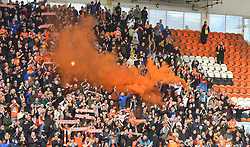 A general view of Bloomfield Road, home of Blackpool with flares going off