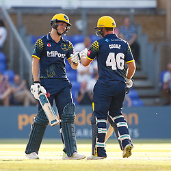 Glamorgan's Craig Meschede celebrates with team-mate Chris Cooke<br /> <br /> Photographer Simon King/Replay Images<br /> <br /> Vitality Blast T20 - Round 8 - Glamorgan v Gloucestershire - Friday 3rd August 2018 - Sophia Gardens - Cardiff<br /> <br /> World Copyright © Replay Images . All rights reserved. info@replayimages.co.uk - http://replayimages.co.uk