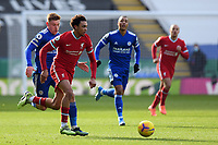 Football - 2020 / 2021 Premier League - Leicester City vs Liverpool - King Power Stadium<br /> <br /> Liverpool's Trent Alexander-Arnold holds off the challenge from Leicester City's Harvey Barnes.<br /> <br /> COLORSPORT/ASHLEY WESTERN