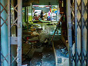 05 JANUARY 2016 - BANGKOK, THAILAND:          An abandoned shop that used to be a beauty parlor in the closed Bang Chak Market. The market closed permanently on January 4, 2016. The Bang Chak Market served the community around Sois 91-97 on Sukhumvit Road in the Bangkok suburbs. Bangkok city authorities put up notices in late November that the market would be closed by January 1, 2016 and redevelopment would start shortly after that. Market vendors said condominiums are being built on the land.                   PHOTO BY JACK KURTZ