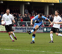 Photo: Mark Stephenson/Richard Lane Photography. <br /> Hereford United v Wycombe Wanderers. Coca-Cola League Two. 15/03/2008. Wycombe's Scott McGleish has a shot on goal