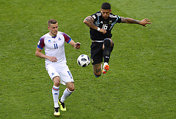 June 16, 2018 - Moscou, Rússia - MOSCOU, MO - 16.06.2018: ARGENTINA VS ICELAND - Alfred FINNBOGASON of Iceland plays ball with Marcos ROJO from Argentina during the match between Argentina and Iceland valid for the 2018 World Cup held at the Otkrytie Arena (Spartak) in Moscow, Russia. (Credit Image: © Rodolfo Buhrer/Fotoarena via ZUMA Press)