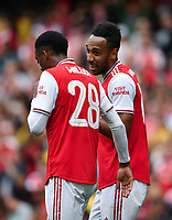 Football - 2019 Emirates Cup - Arsenal vs. Lyon<br /> <br /> Arsenal's Pierre-Emerick Aubameyang celebrates scoring the opening goal with Joe Willock, at the Emirates Stadium.<br /> <br /> COLORSPORT/ASHLEY WESTERN
