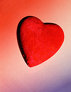 Close up, colorful photo of a sculpture of a red heart