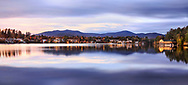 Lake Placid in late evening twilight, Adirondack Mountains, Upstate New York, USA