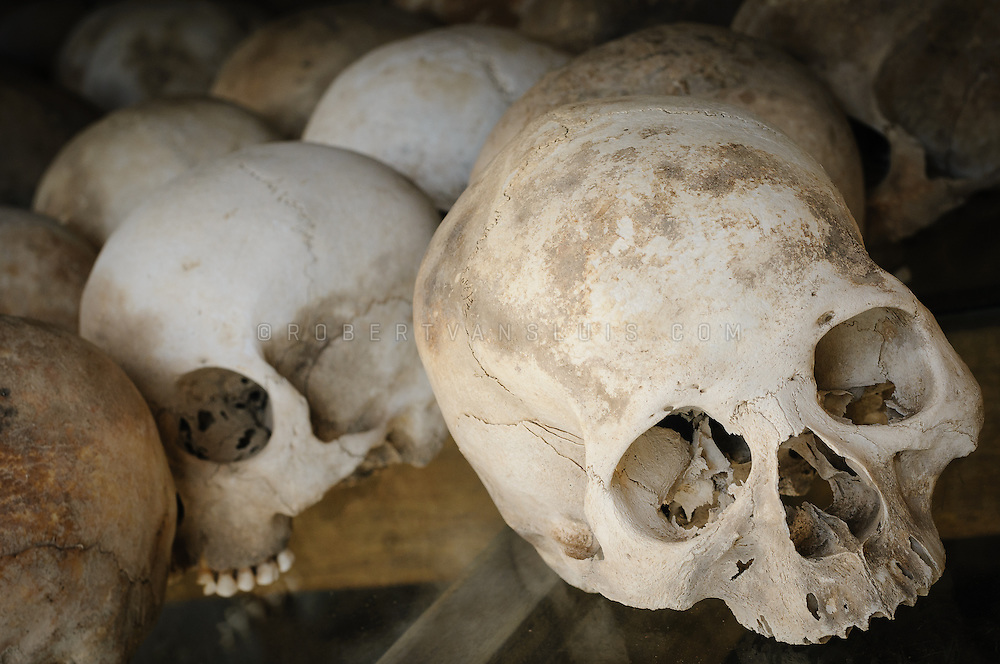 Skulls of prisoners executed by the Khmer Rouge at the Choeung Ek killing fields near Phnom Penh, Cambodia