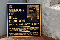 NORMAL, IL - April 06: Bill Dickson plaque during a college women's softball game between the ISU Redbirds and the University of Northern Iowa Panthers on April 06 2019 at Marian Kneer Field in Normal, IL. (Photo by Alan Look)