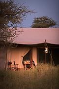View of a tent in the savannah at the Lemala Ewanjan Camp at sunset, Serengeti National Park, Tanzania