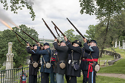 May 28, 2017 - Philadelphia, Pennsylvania, U.S - Civil War Union Soldiers reenactors give a twenty one gun salute to the soldiers who made the ultimate sacrifice, at the Laurel Hill Cemetery in Philadelphia PA In 1868, Laurel Hill Cemetery was the site of the first Memorial Day Observance in Philadelphia. (Credit Image: © Ricky Fitchett via ZUMA Wire)