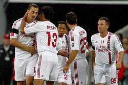 26.07.2011, Allianz Arena, Muenchen, GER, Audi Cup 2011,  FC Bayern vs AC Milan, im Bild  Jubel nach dem 0-1 durch Zlatan Ibrahimovic (Milan #11)  mit Alessandro Nesta (Milan #13) Antonio Cassano (Milan #99)  // during the Audi Cup 2011,  FC Bayern vs AC Milan , on 2011/07/26, Allianz Arena, Munich, Germany, EXPA Pictures © 2011, PhotoCredit: EXPA/ nph/  Straubmeier       ****** out of GER / CRO  / BEL ******