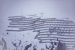 THEMENBILD - Lawinenverbauungen unterhalb der Westgipfel-Bahn, die im Nebel und Schneetreiben fast nicht sichtbar ist, aufgenommen am 12. November 2019, Saalbach Hinterglemm, Österreich // Avalanche barriers below the Westgipfel-Bahn, which is almost invisible in the fog and snow drift on 2019/11/12, Saalbach Hinterglemm, Austria. EXPA Pictures © 2019, PhotoCredit: EXPA/ Stefanie Oberhauser