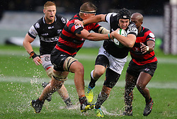 Franco Marais of the Sharks and Christiaan de Bruin of the EP Kings during the Currie Cup premier division match between the The Sharks and Eastern Province Kings held at King's Park, Durban, South Africa on the 17th September 2016<br /> <br /> Photo by:   Anesh Debiky / Real Time Images