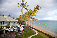 The Kahala Resort and Hotel, located in Honolulu on the souths side of Diamond Head, offers luxurious accommodations and is the only hotel in Oahu with a dolphin program. The view of the exterior of the Plumeria Beach House restaurant which is located oceanfront.