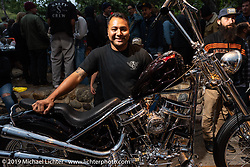 Nick Busby with his 1962 custom Harley-Davidson People's Champ Panhead at the Born Free pre-party and People's Champ finals at Cooks Corner before the big show. Trabuco Canyon, CA, USA. Friday, June 21, 2019. Photography ©2019 Michael Lichter.CA, USA.