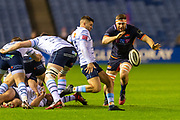Nick Haining (#6) of Edinburgh Rugby looks to charge down the clearing kick of Lloyd Williams (#9) of Cardiff Blues during the Guinness Pro 14 2019_20 match between Edinburgh Rugby and Cardiff Blues at BT Murrayfield Stadium, Edinburgh, Scotland on 28 February 2020.