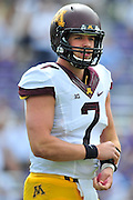 FORT WORTH, TX - SEPTEMBER 13:  Mitch Leidner #7 of the Minnesota Golden Gophers looks on against the TCU Horned Frogs on September 13, 2014 at Amon G. Carter Stadium in Fort Worth, Texas.  (Photo by Cooper Neill/Getty Images) *** Local Caption *** Mitch Leidner