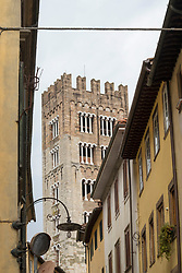 Bell tower and residential buildings, Lucca, Tuscany, Italy