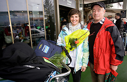 Slovenian biathlon athlete Andreja Mali with her father at arrival to Airport Joze Pucnik from Vancouver after Winter Olympic games 2010, on February 26, 2010 in Brnik, Slovenia. (Photo by Vid Ponikvar / Sportida)