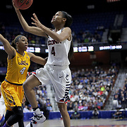 Moriah Jefferson, (right), UConn, drives to the basket defended by DeVaughn Gray, East Carolina, during the UConn Huskies Vs East Carolina Pirates Quarter Final match at the  2016 American Athletic Conference Championships. Mohegan Sun Arena, Uncasville, Connecticut, USA. 5th March 2016. Photo Tim Clayton